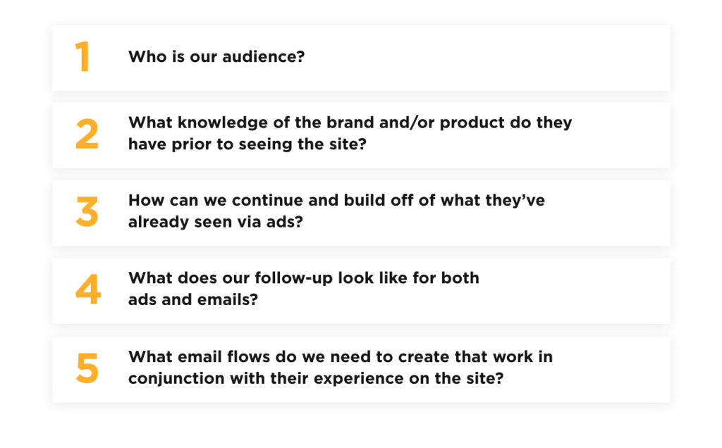 Who is our audience? What knowledge of the brand and/or product do they have prior to seeing the site? How can we continue and build off of what they've already seen via ads? What does our follow-up look like for both ads and emails? What email flows do we need to create that work in conjunction with their experience on the site?
