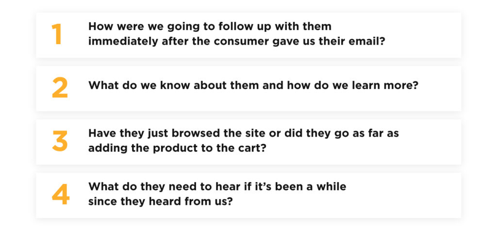How were we going to follow up with them immediately after the consumer gave us their email? What do we know about them and how do we learn more? Have they just browsed the site or did they go as far as adding the product to the cart? What do they need to hear if it's been a while since they heard from us?