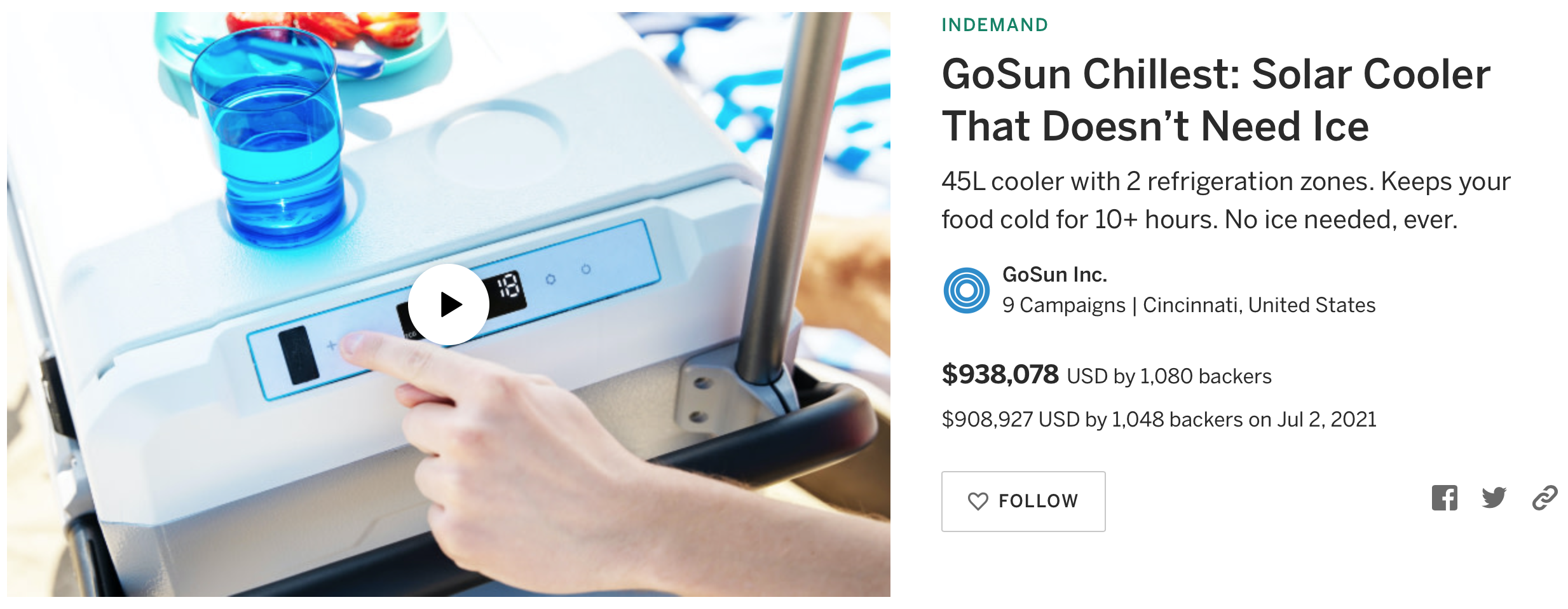 How we raised $938,078 for GoSun Chillest on Indiegogo [CASE STUDY]