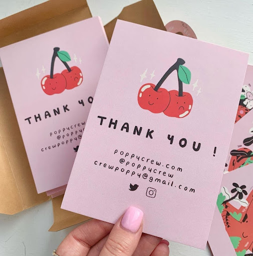 Thank you cards included in ecommerce package
