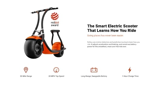 Rolley scooter best performing landing page