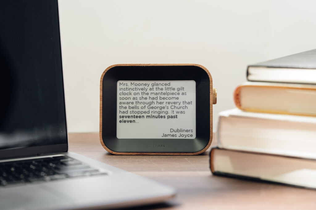 Author clock resting on a desk